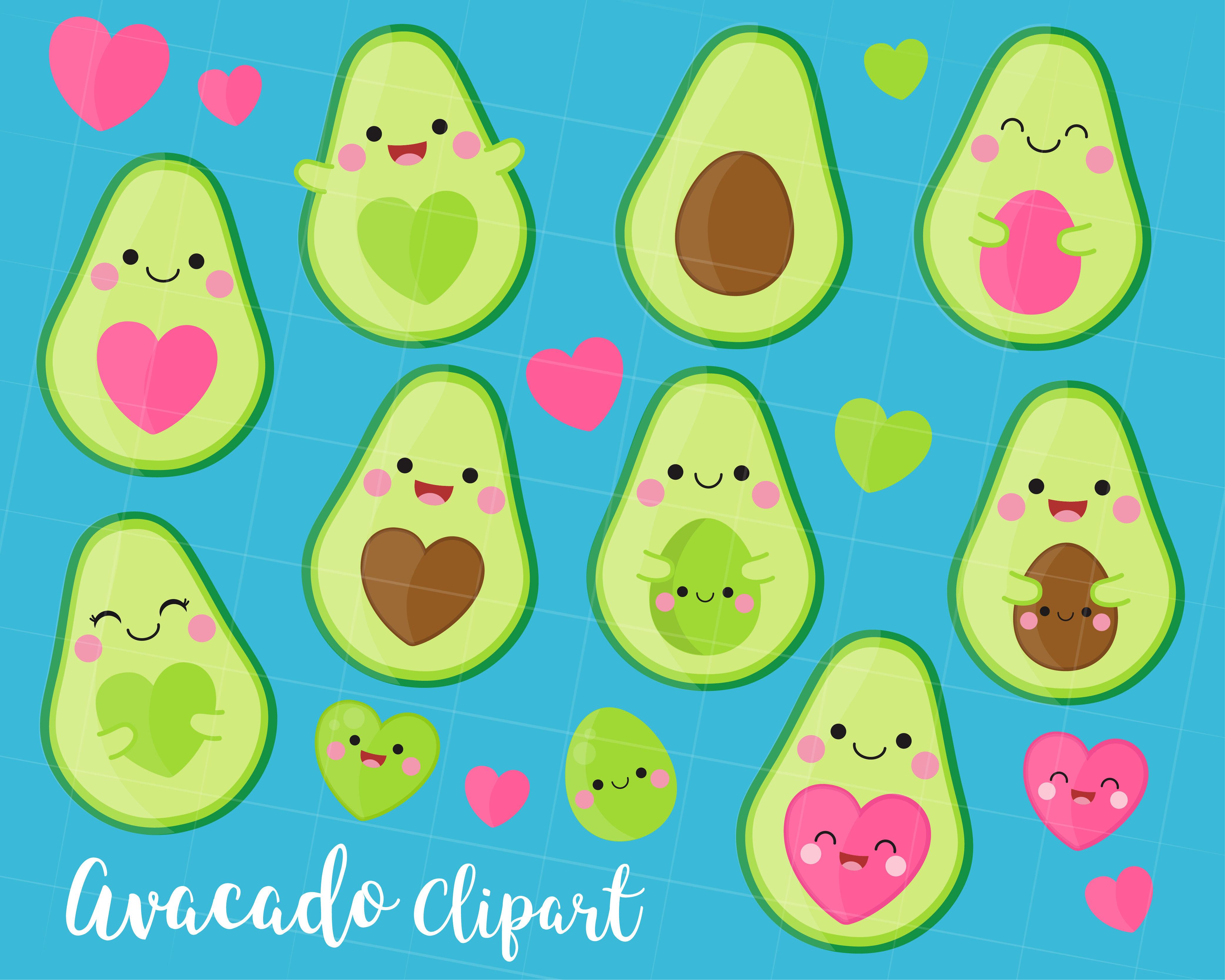 Avocado clipart, Avocado Clip art, Kawaii Avocado ...