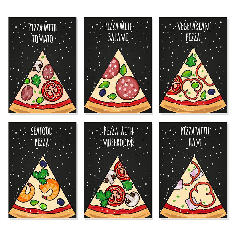 Pizza Cards Template Holiday Pizza Cards For Party Menu By