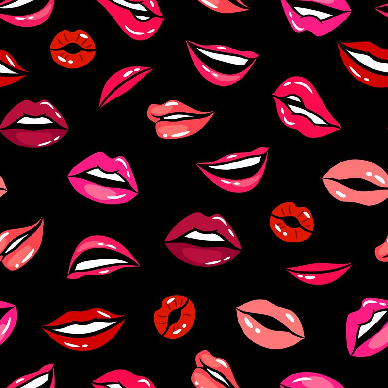 Female Comic Lips Seamless Pattern Vector Template By