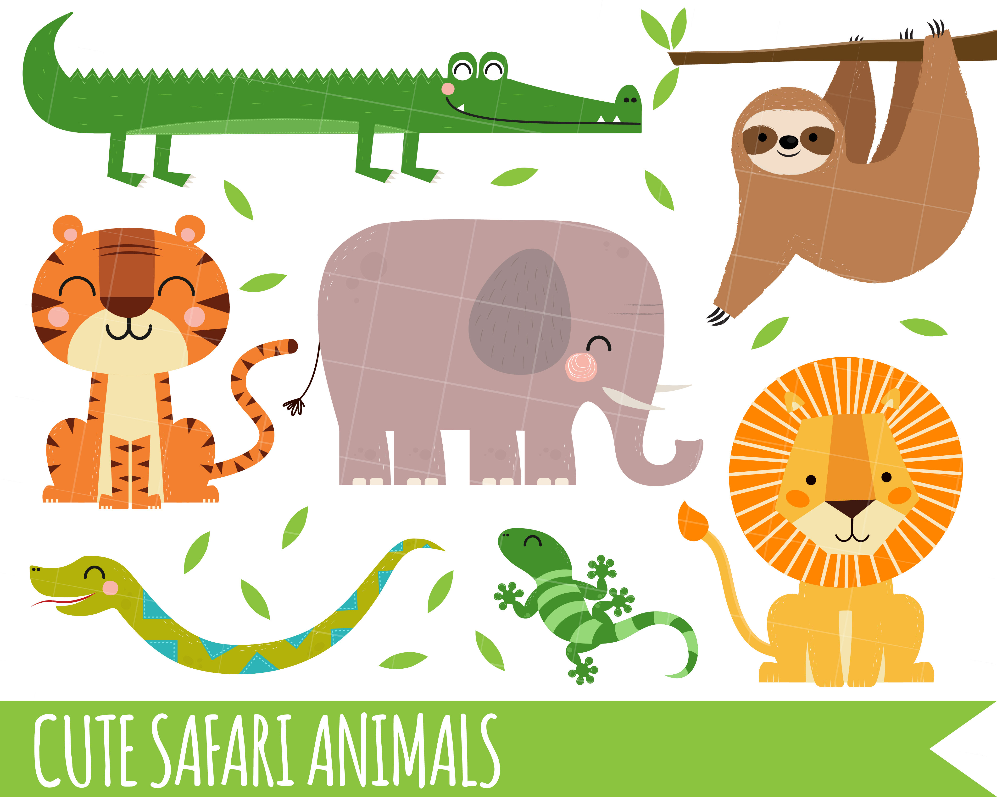 Safari Clipart Jungle Clipart Lion Clipart Sloth Crocodile Snake By My First Invite Thehungryjpeg Com