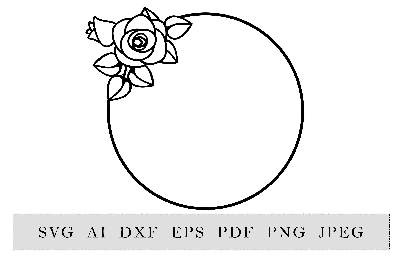 Round Frame With Rose Flower By Esha Thehungryjpeg Com