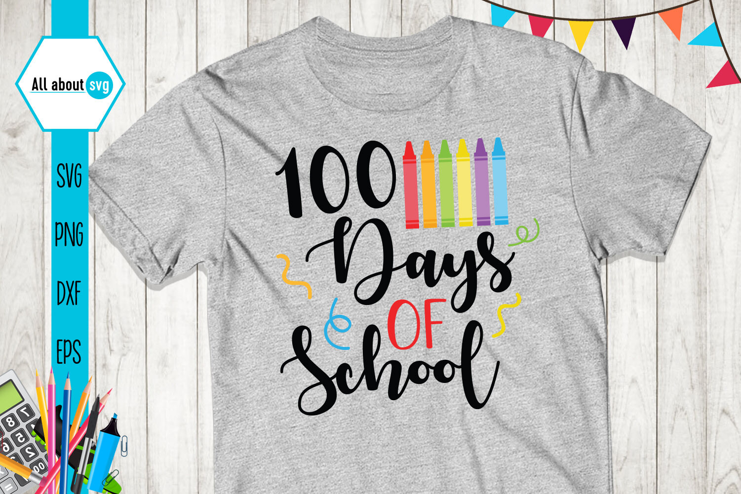 Happy 100 Days Of School Svg By All About Svg Thehungryjpeg Com