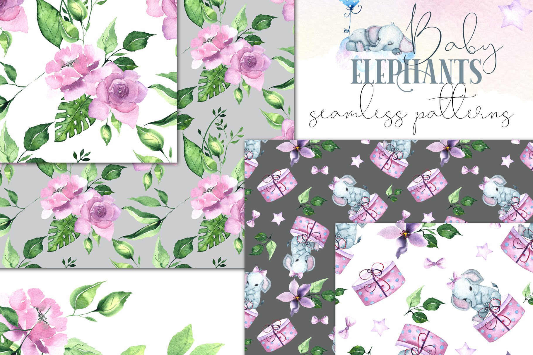 Cute Baby Elephants Watercolor Collection By Ana Sakuta