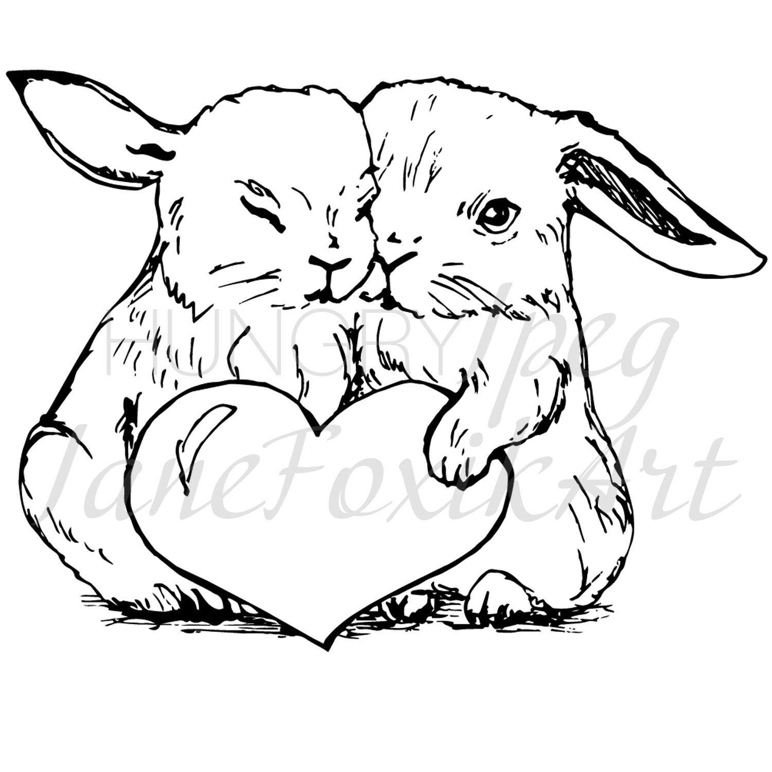 Bunny In Love Cute Couple Of Bunnies With Red Heart By