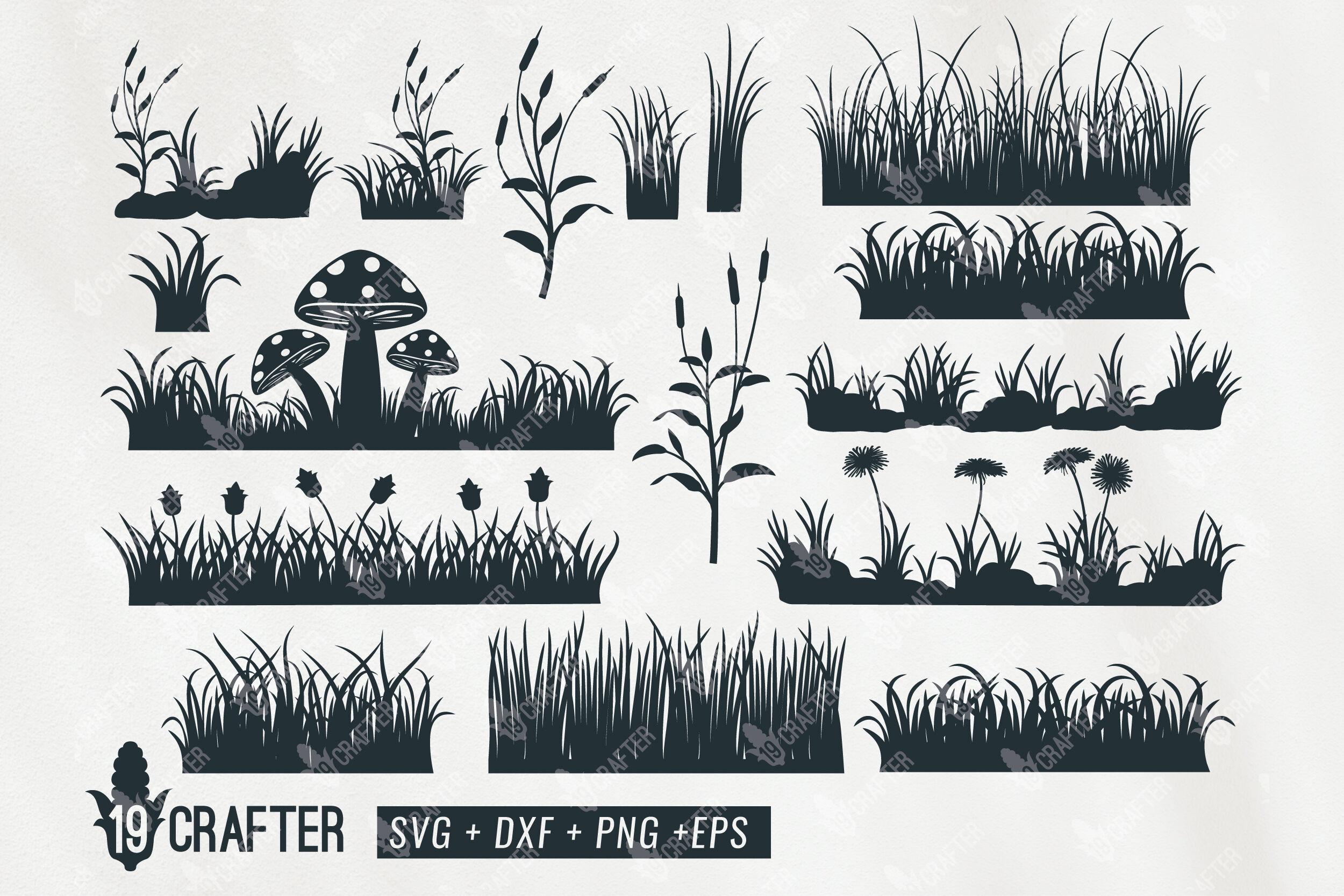 Grass Field Flower And Mushroom Svg Bundle By Greatype19