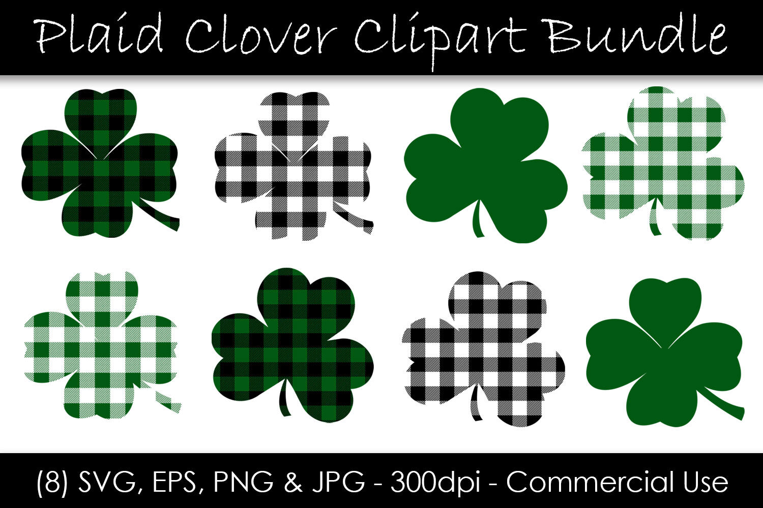 St Patrick S Day Shamrocks And Clovers By Gjsart Thehungryjpeg Com
