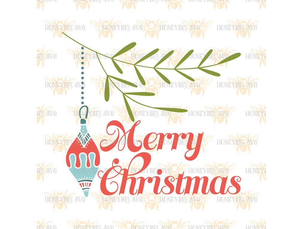 Merry Christmas Ornament Svg.Merry Christmas Ornament By Honeybee Svg Thehungryjpeg Com