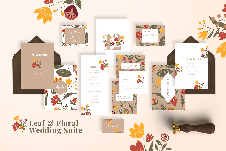 Leaf Floral Wedding Suite By Adefastudio Thehungryjpeg Com