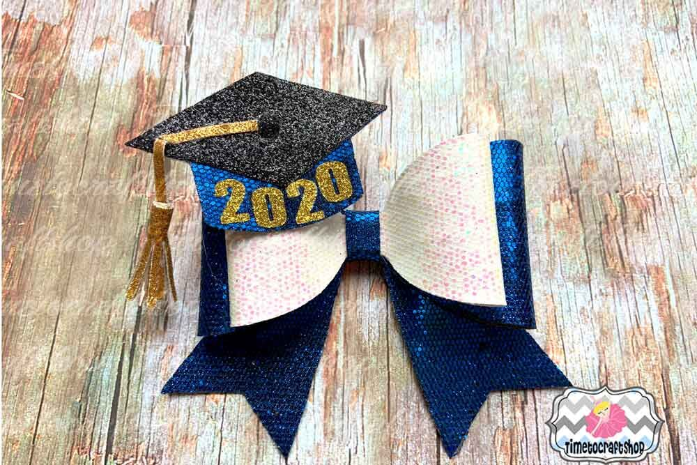 2020 Graduation Cap Hair Bow Template Glitter Hair Bow Felt Bow