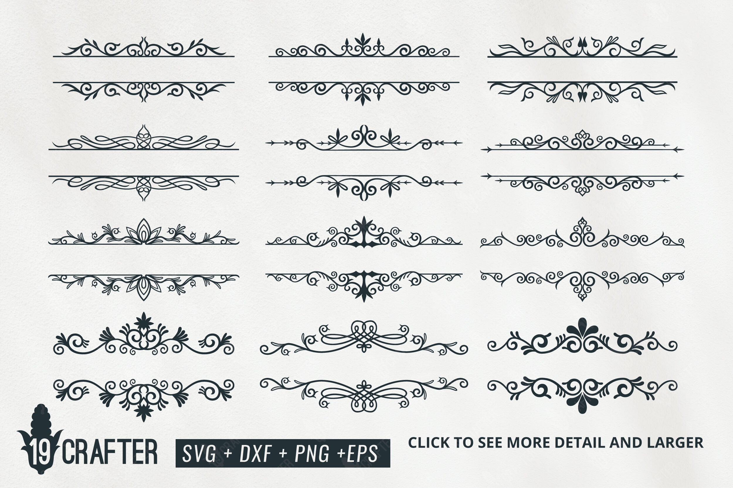 Decorative Floral Swirl Split Baner Svg Bundle By Greatype19