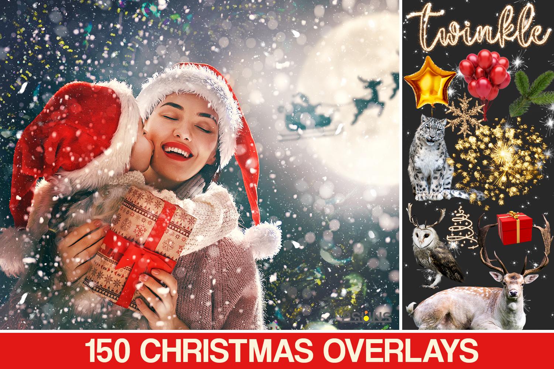 150 Christmas Digital Backdrop Photoshop Overlay Christmas