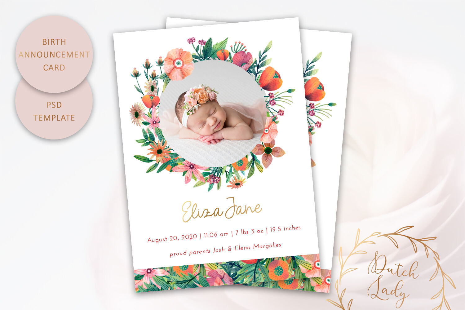 Birth Announcement Card Template #10 By The Dutch Lady ...