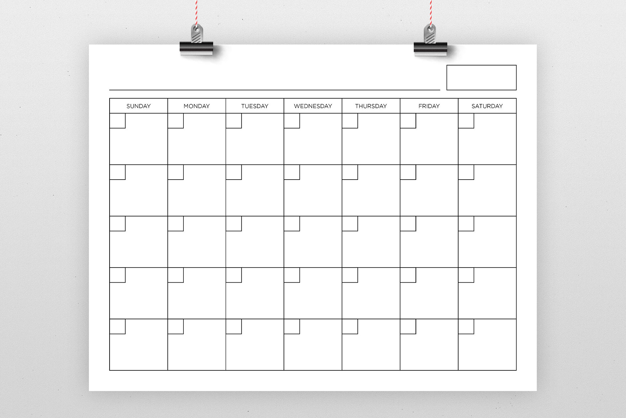 8 5 X 11 Inch Blank Calendar Page Template By Running With Foxes Thehungryjpeg Com