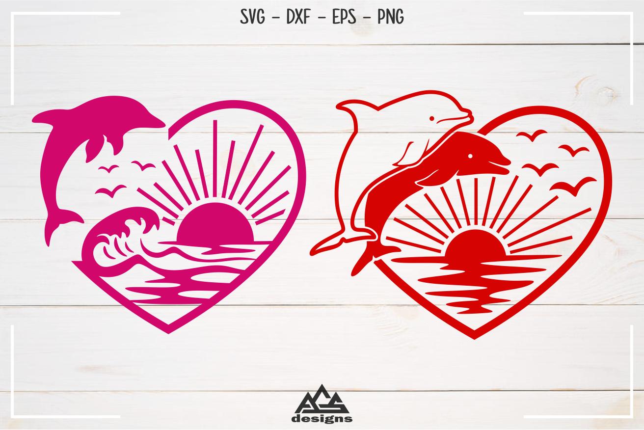 Dolphin Ocean Beach Heart Love Svg Design By Agsdesign