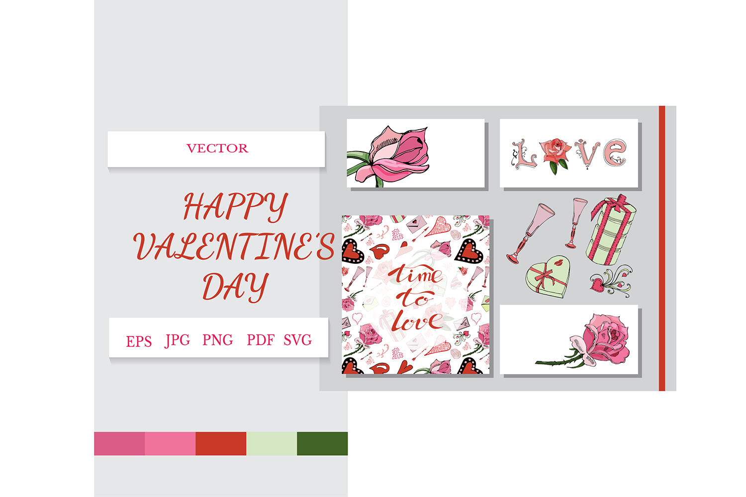 Card With Hand Drawn Color Elements Of Symbols Of Love By