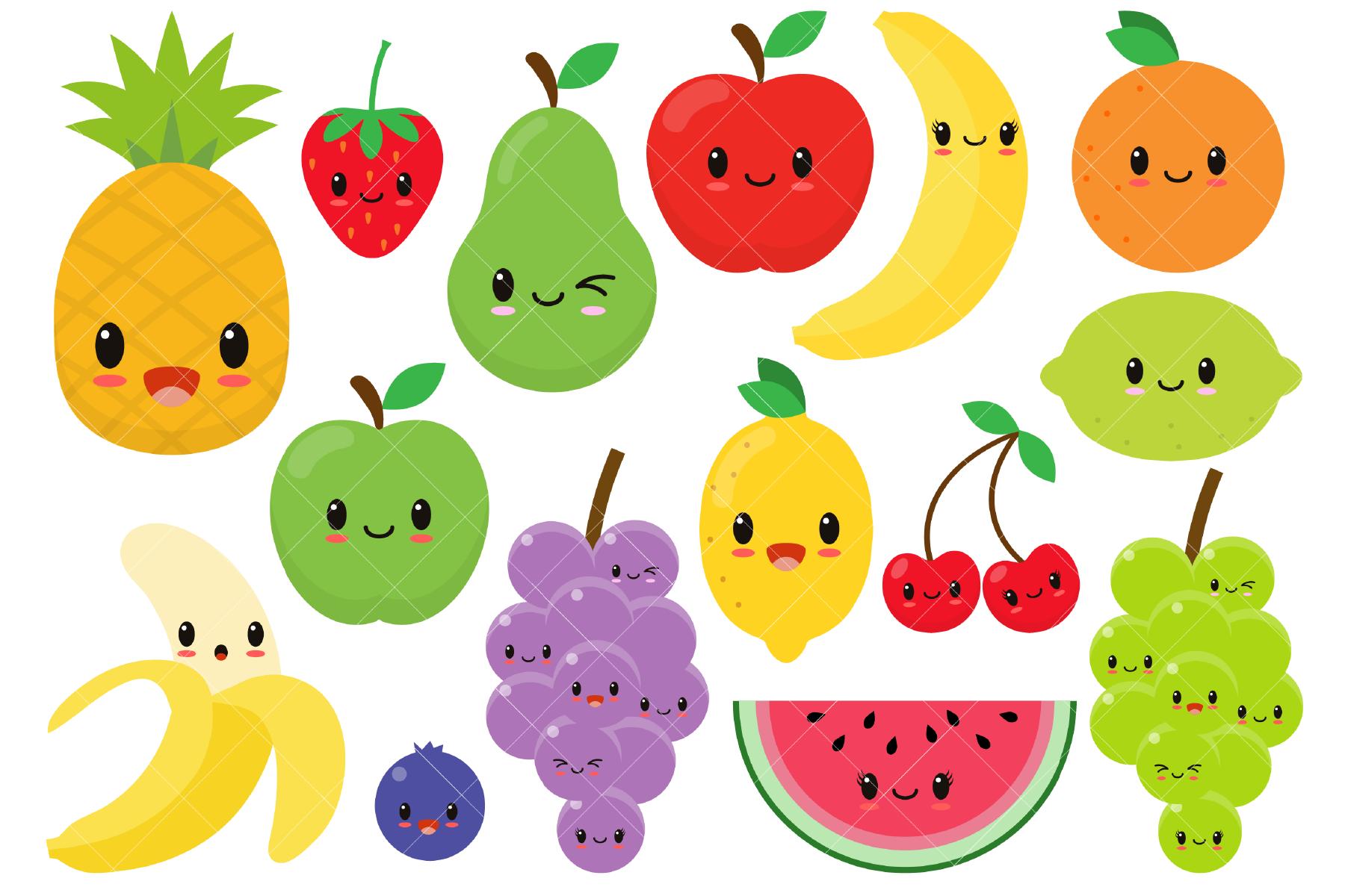 Different kinds of fresh fruits illustration.