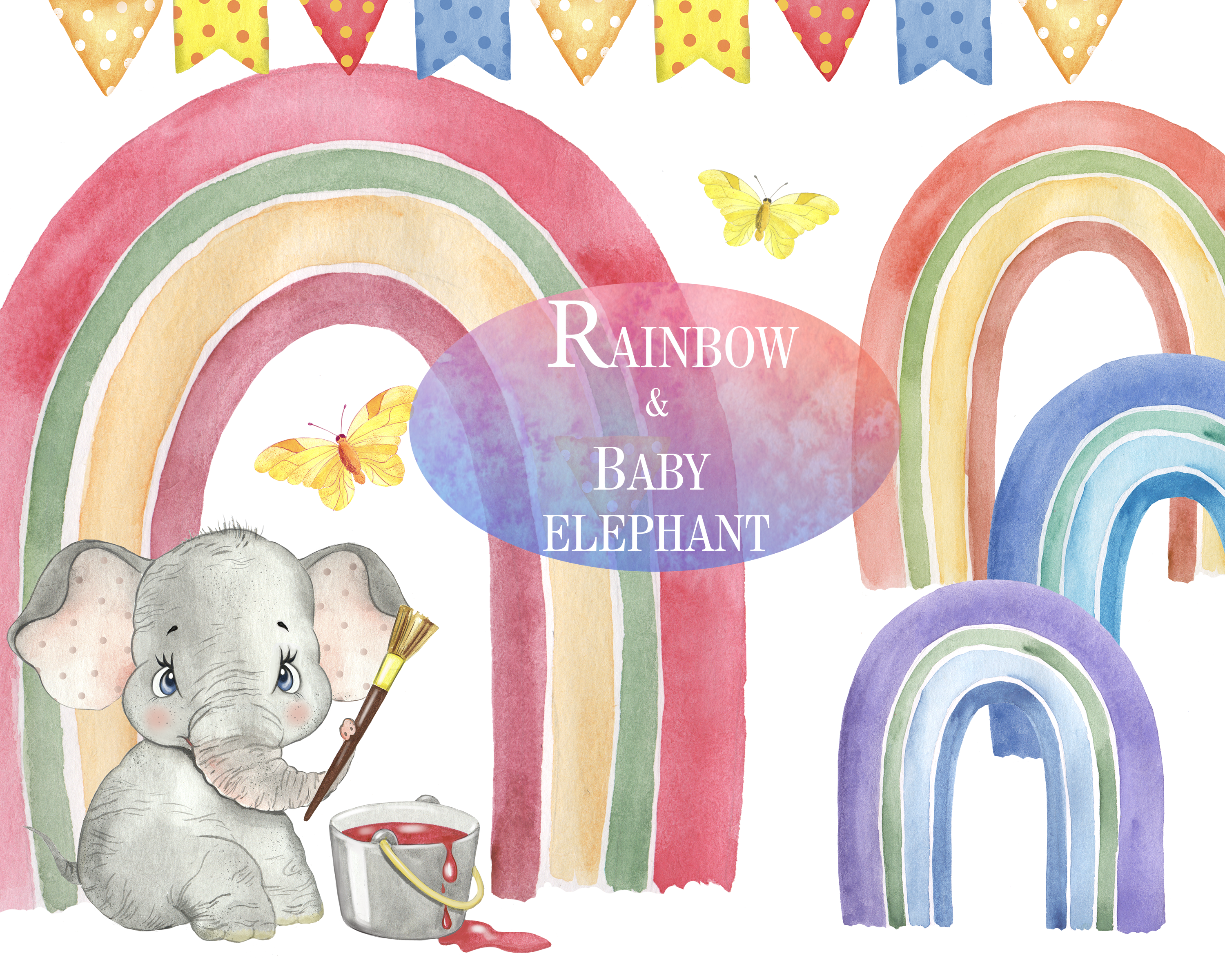 Watercolor Rainbow Clipart Elephant Clipart Watercolor Printable