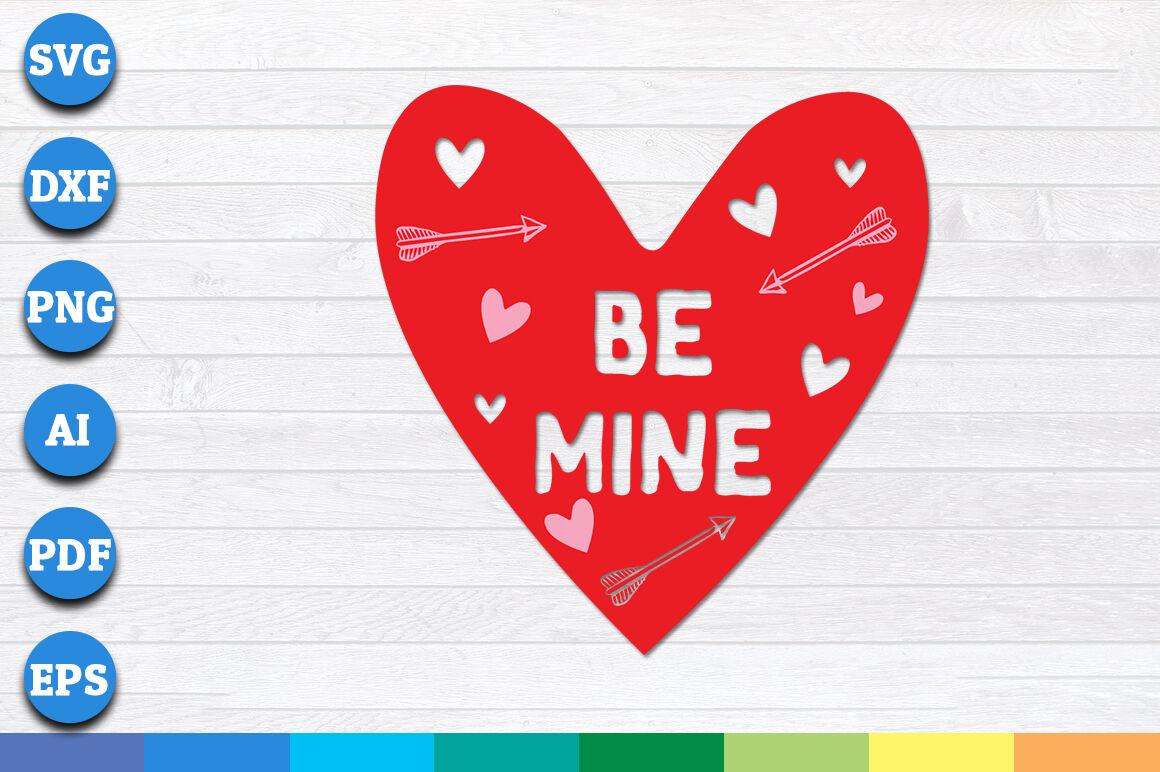 Be Mine With Heart Shape Svg By Creative Art Thehungryjpeg Com