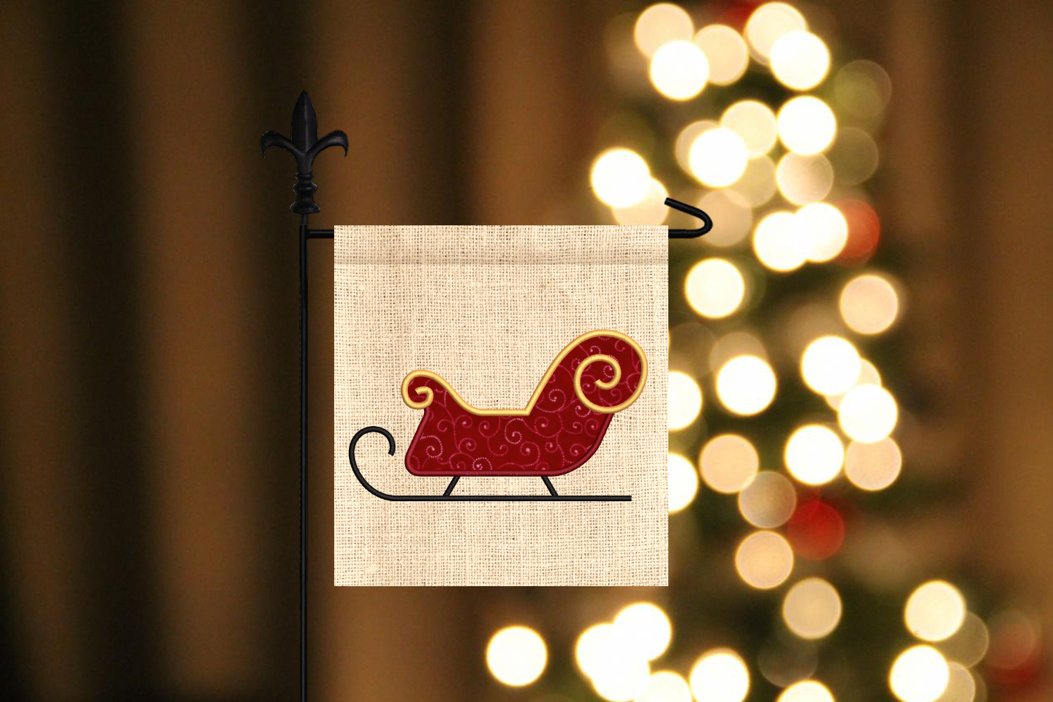 Santa S Sleigh Applique Embroidery By Designed By Geeks