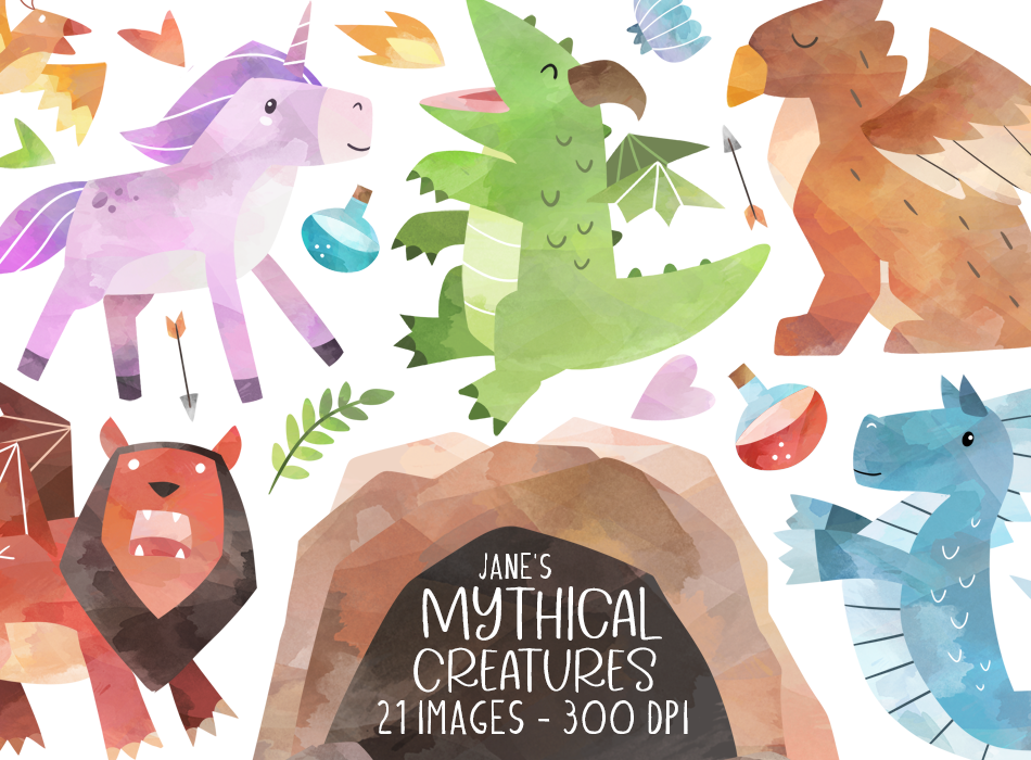 Watercolor Mythical Creatures Clipart By Digitalartsi Thehungryjpeg Com