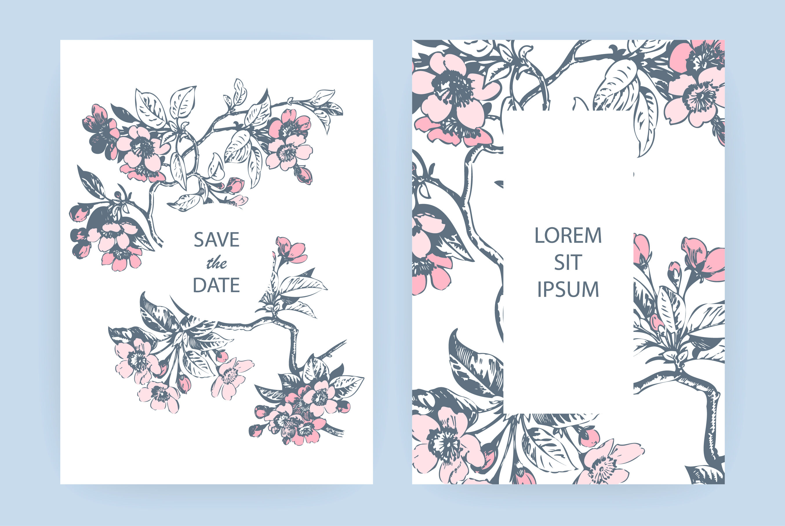 Hand Drawn Sakura Pink Blossom Flowers And Leaves On Branches On