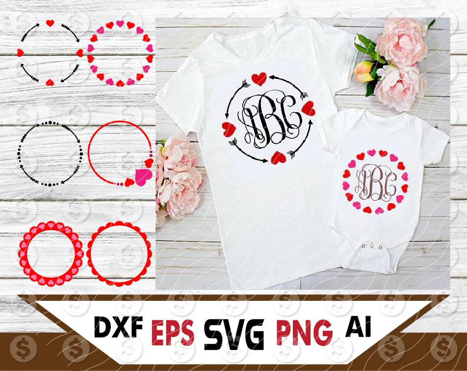 Bundle Circle Arrow Heart Monogram Frame Svg Files For Cricut