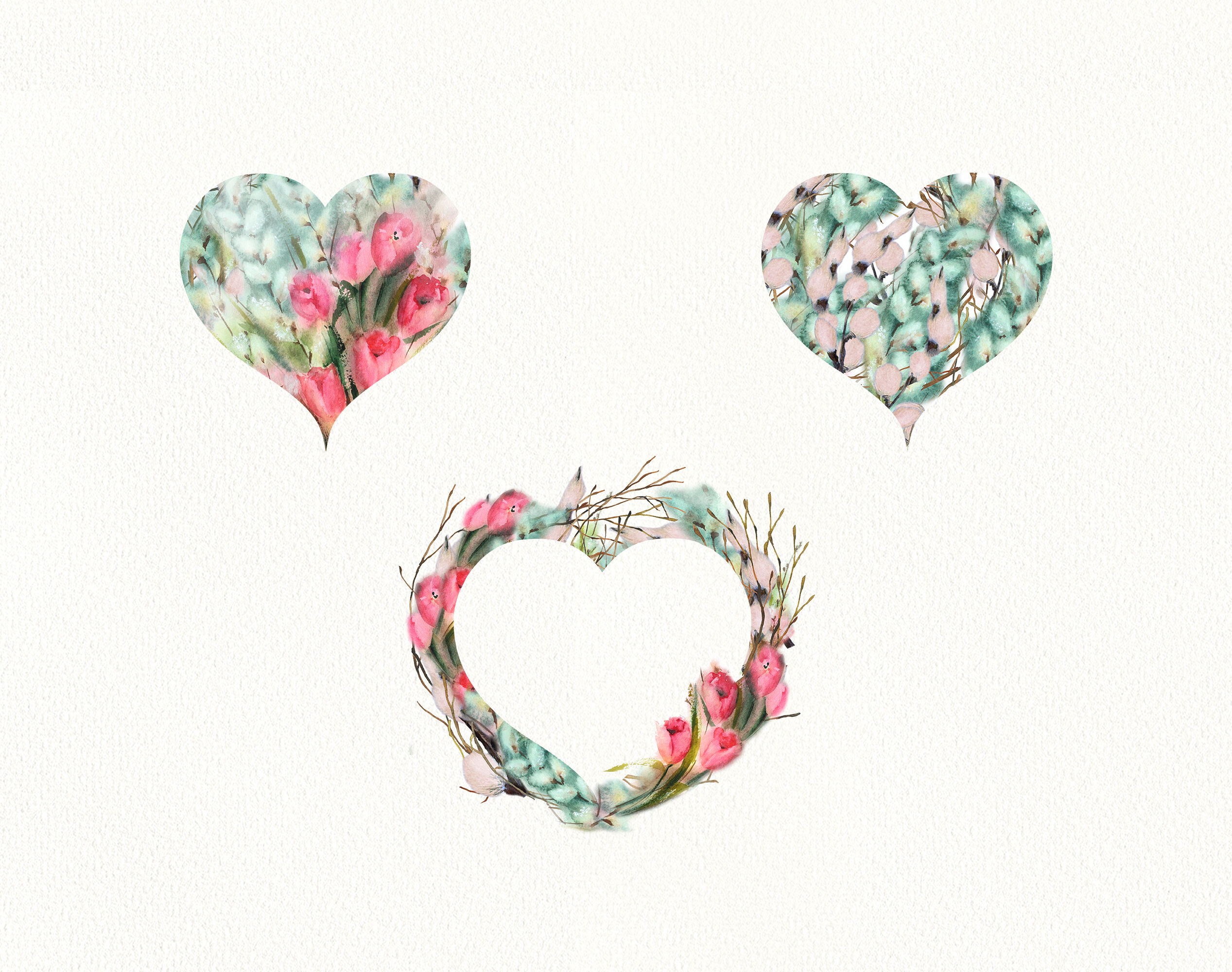 Watercolor Tulips Willow Valentines Hearts Floral Heart Clipart