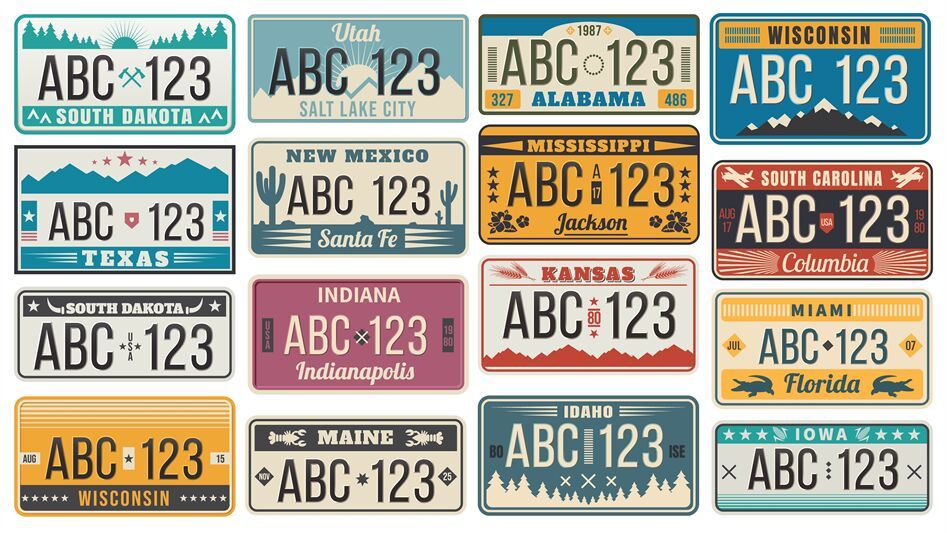 Car Number License Plate Retro Usa Cars Registration Number Signs