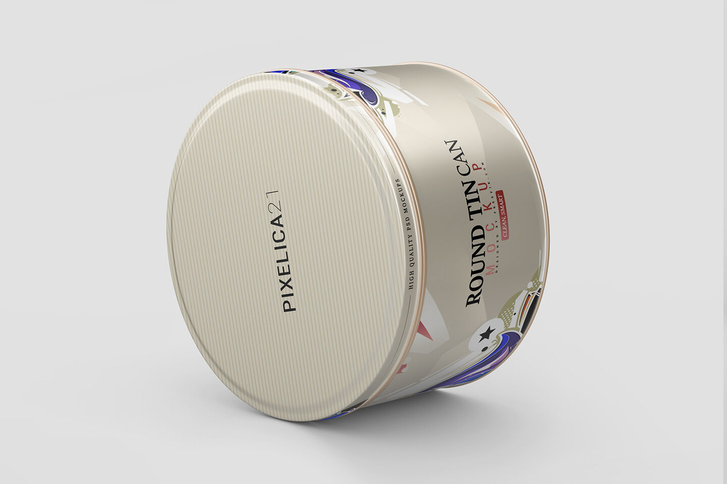 High Round Tin Box Mockup