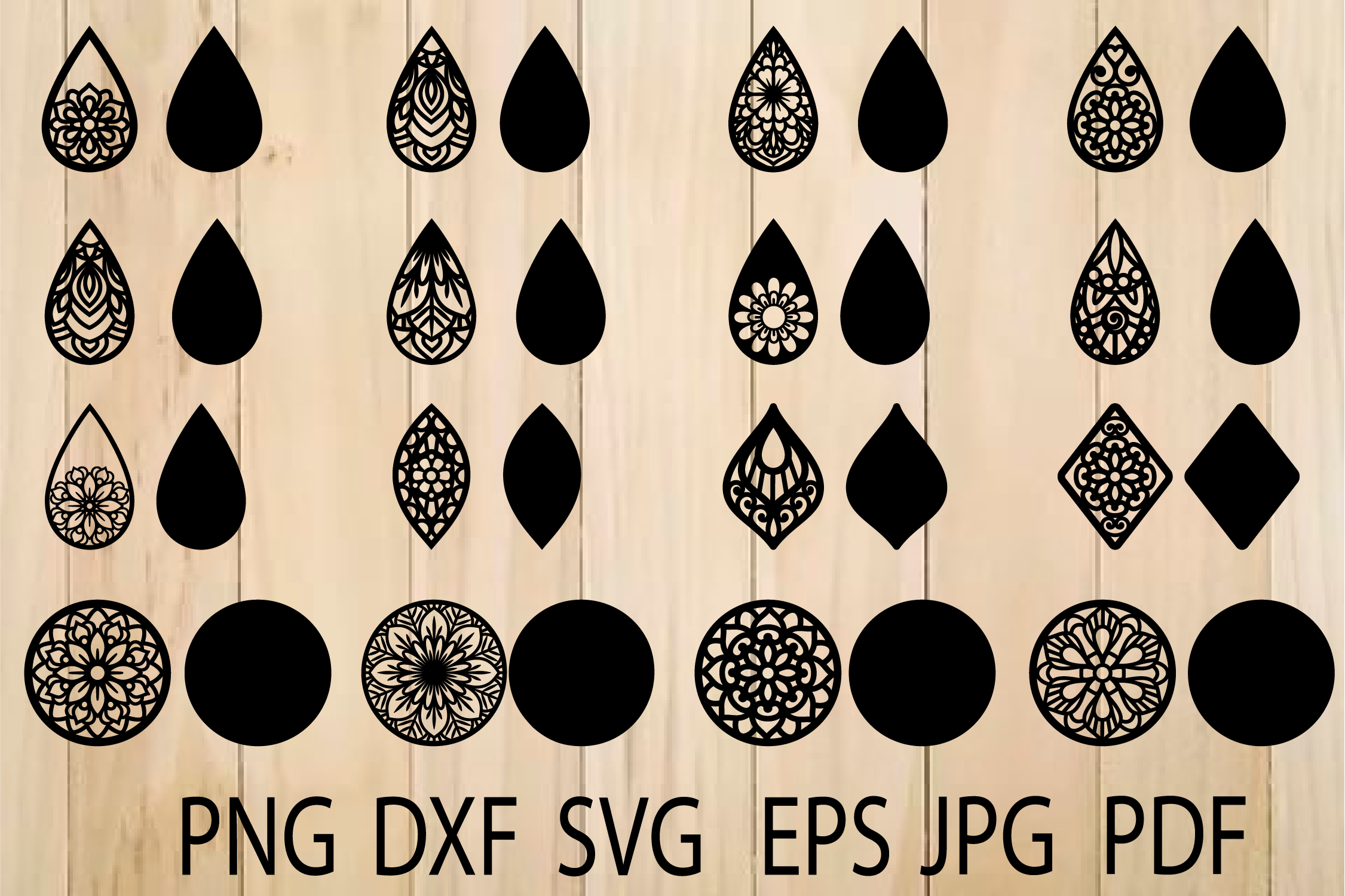 Earrings Svg Mandala Earring Svg Earrings Template By