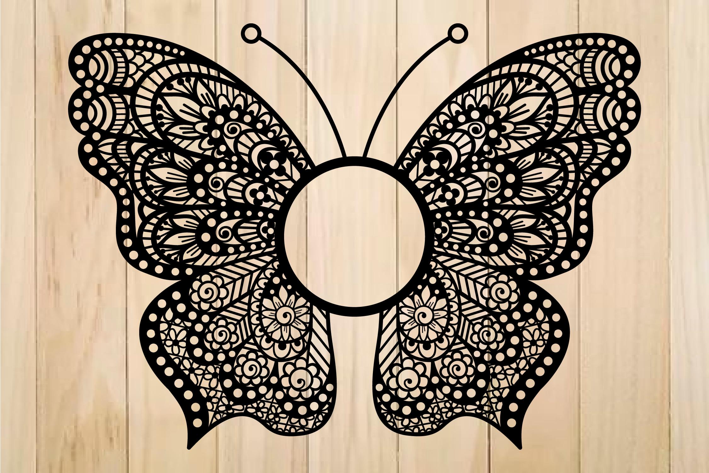 Butterfly Svg Butterfly Monogram Frame Zentangle Svg By