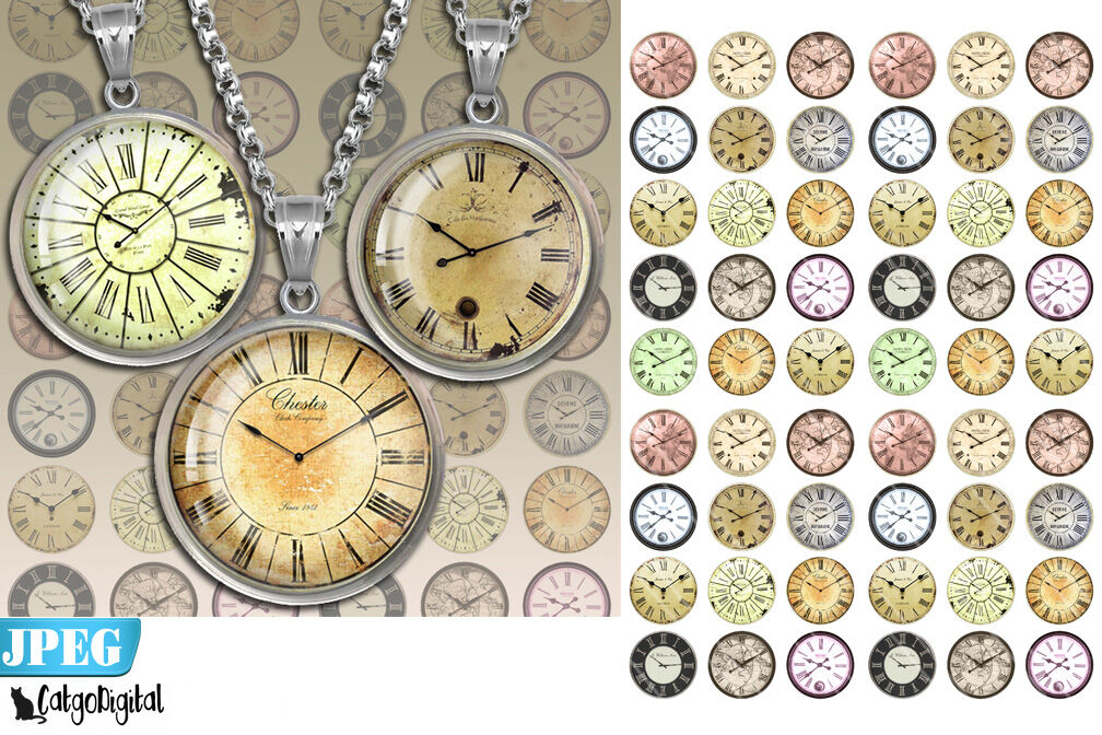 Clock Faces Steampunk Digital Collage Sheet By Catgodigital