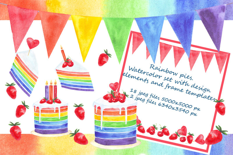 Rainbow Pies Watercolor Set With Card Design Elements And Frame