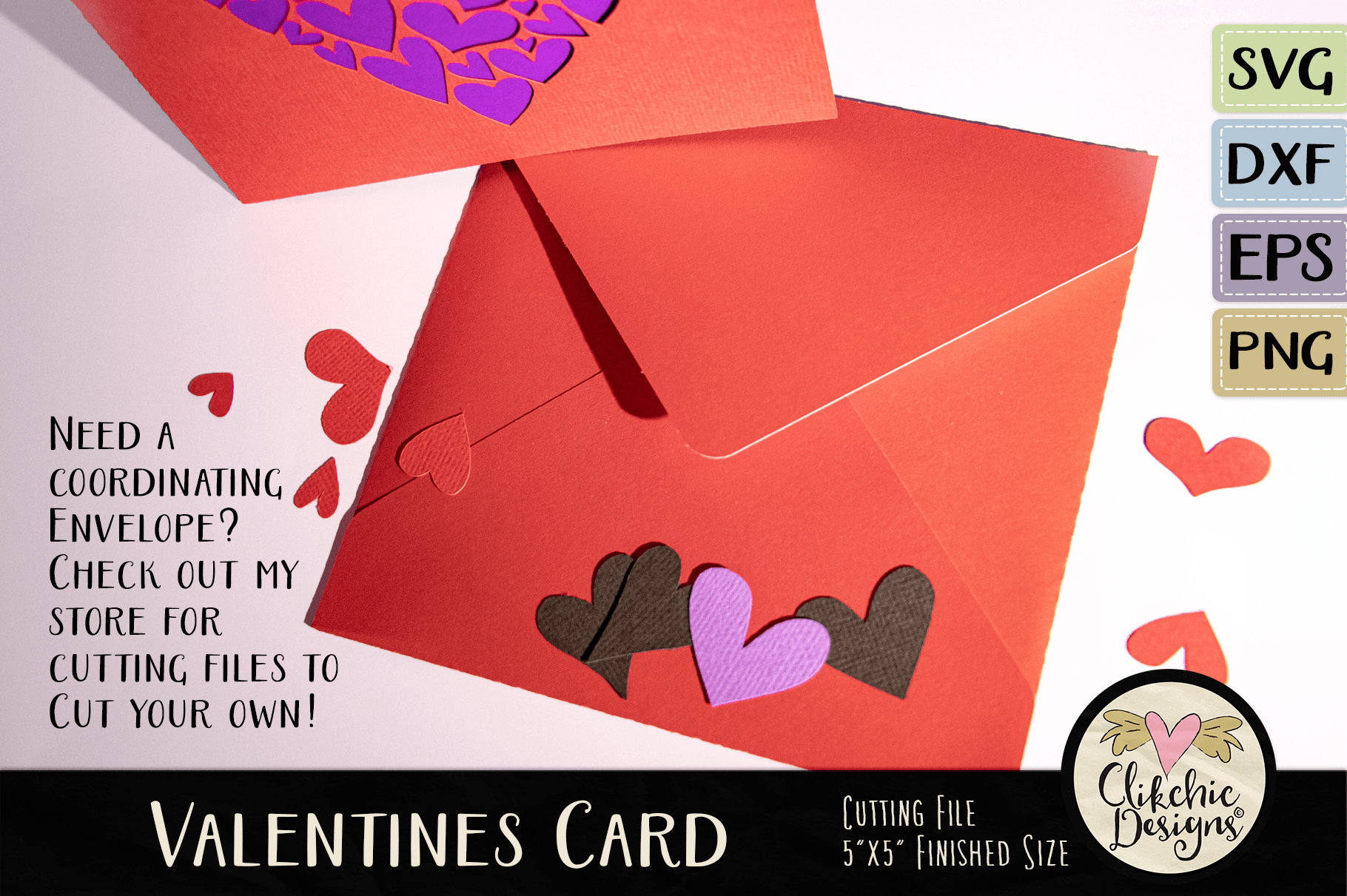 Valentine Hearts Svg Card Cutting File By Clikchic Designs
