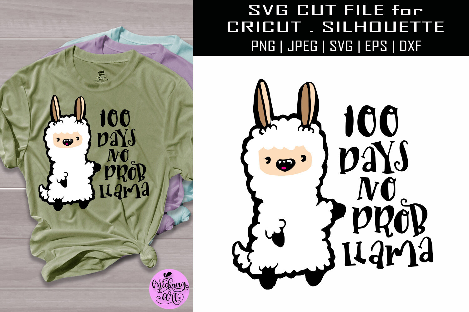 100 Days No Prob Llama Svg Teacher Svg By Midmagart