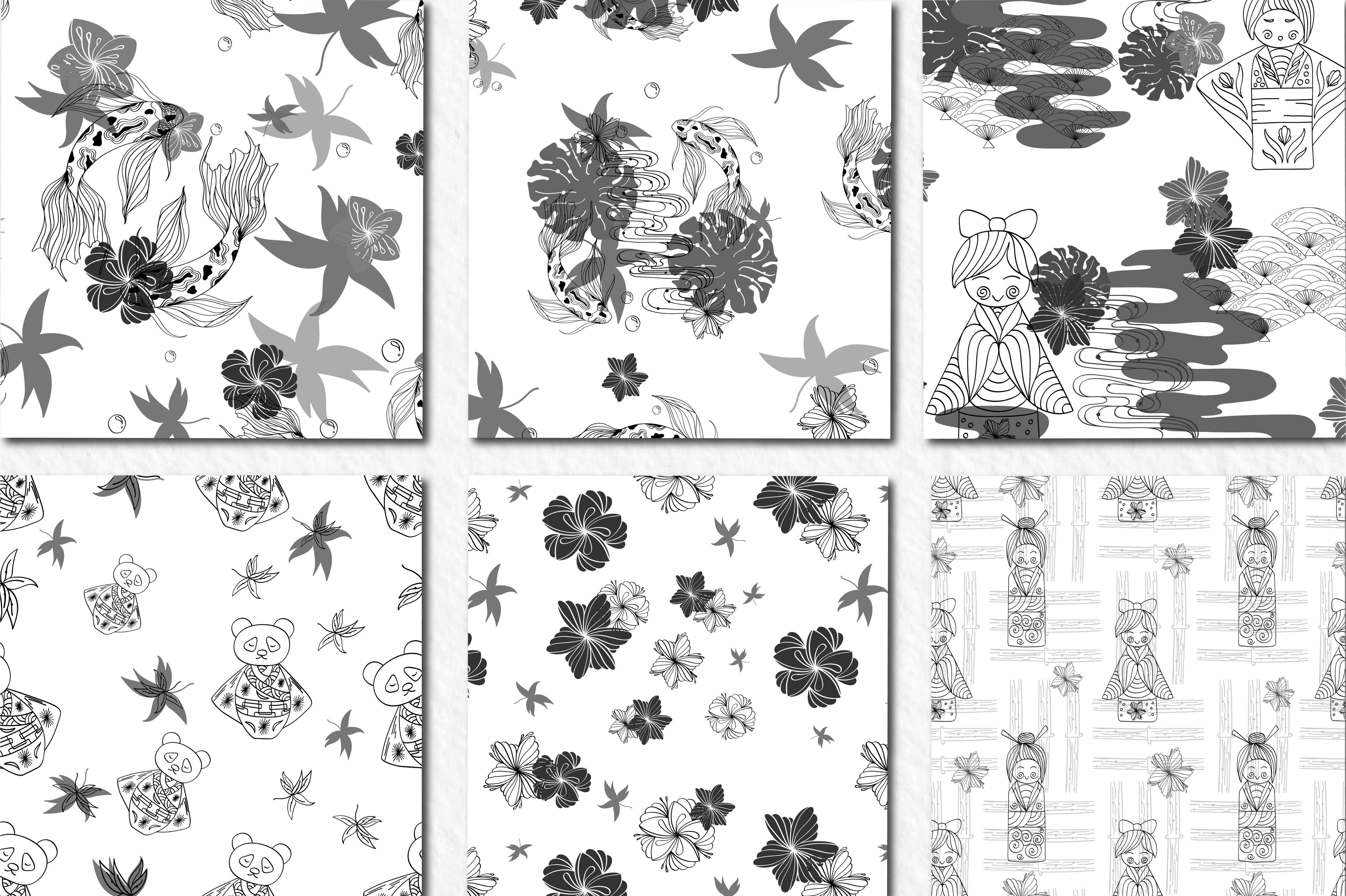 Line Art Japanese Pattern Collection By Zenart Studio By Tatyana