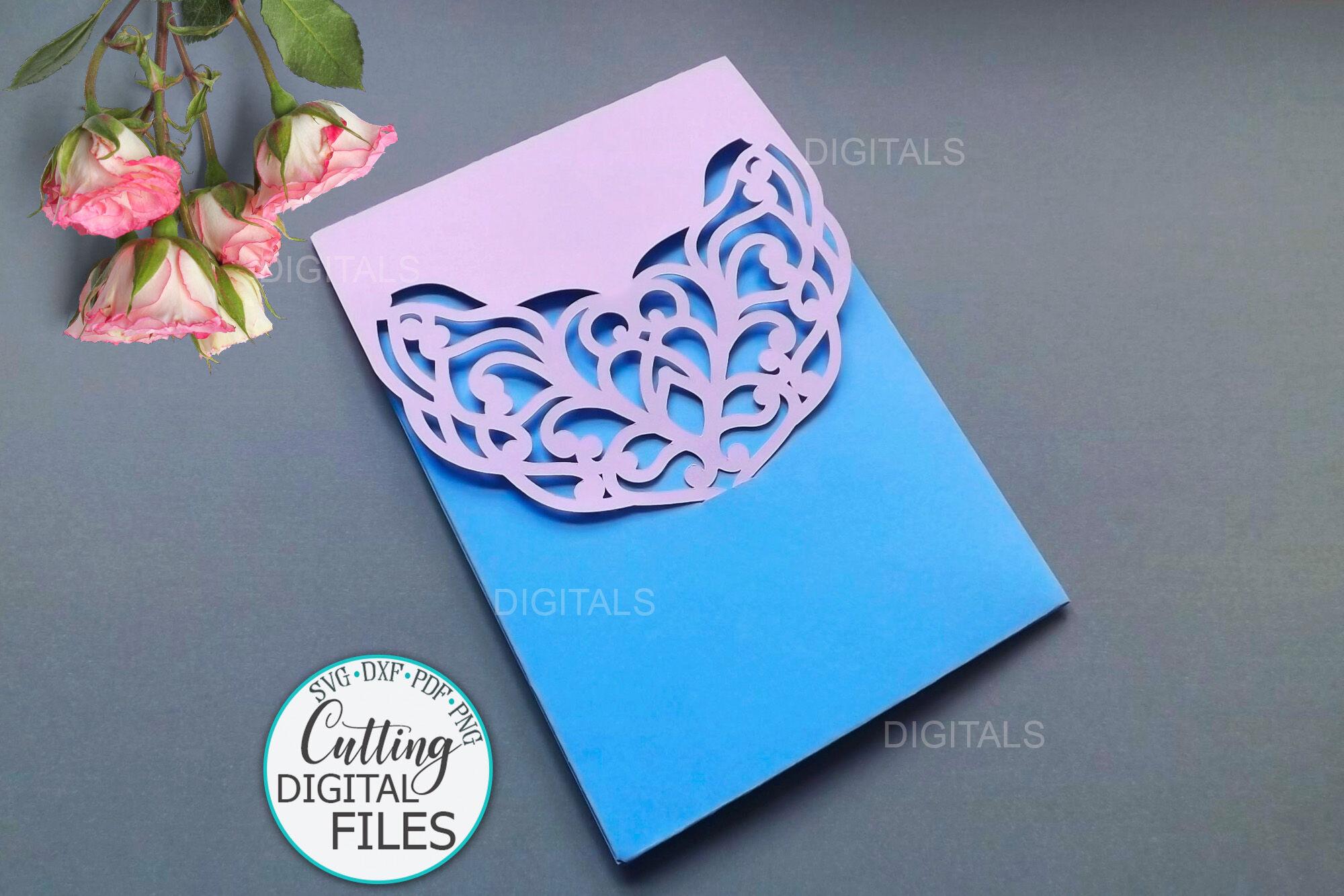 5x7 Wedding Pocket Envelope Laser Cutting Template Svg Dxf