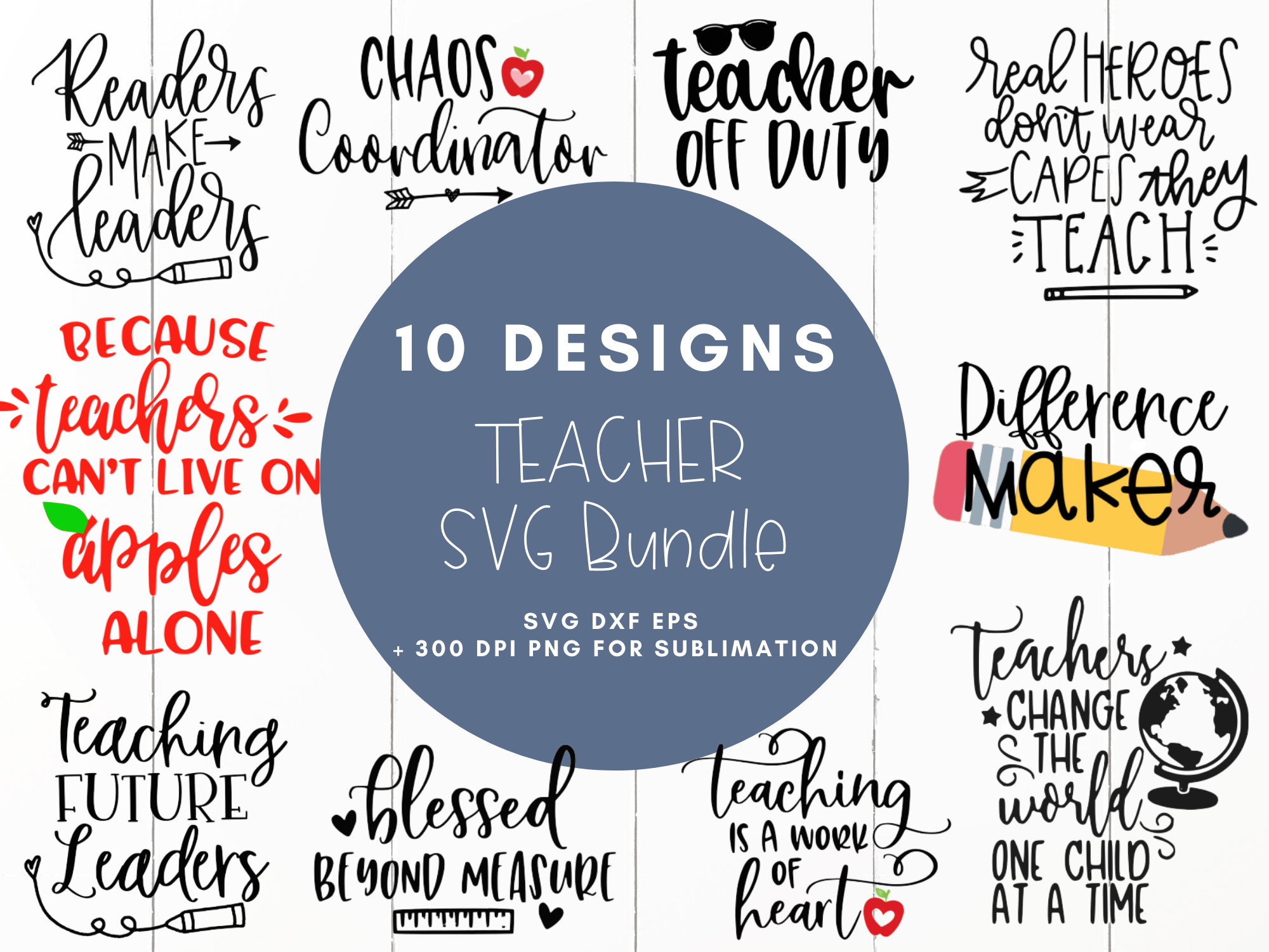 Teacher Bundle Svg Dxf Eps Png Cut File Cricut Silhouette By
