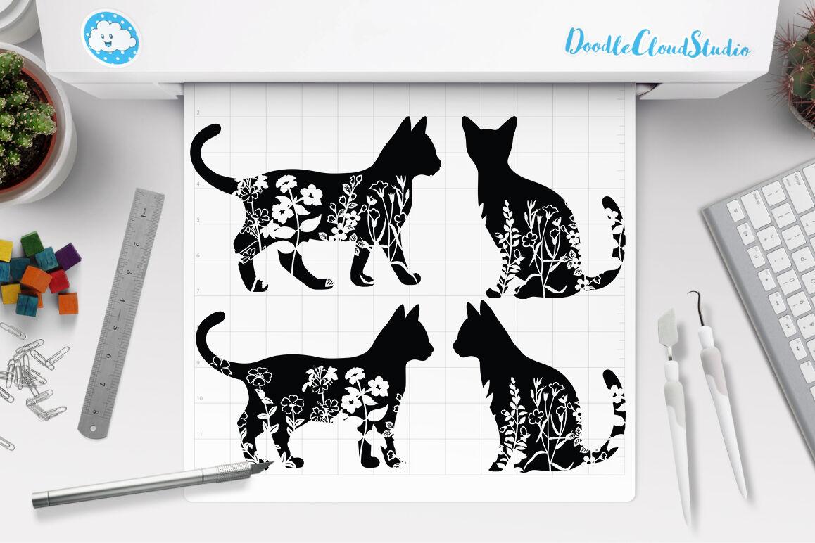 Floral Cat Svg Flower Cat Svg Cut Files Cat Clipart By Doodle