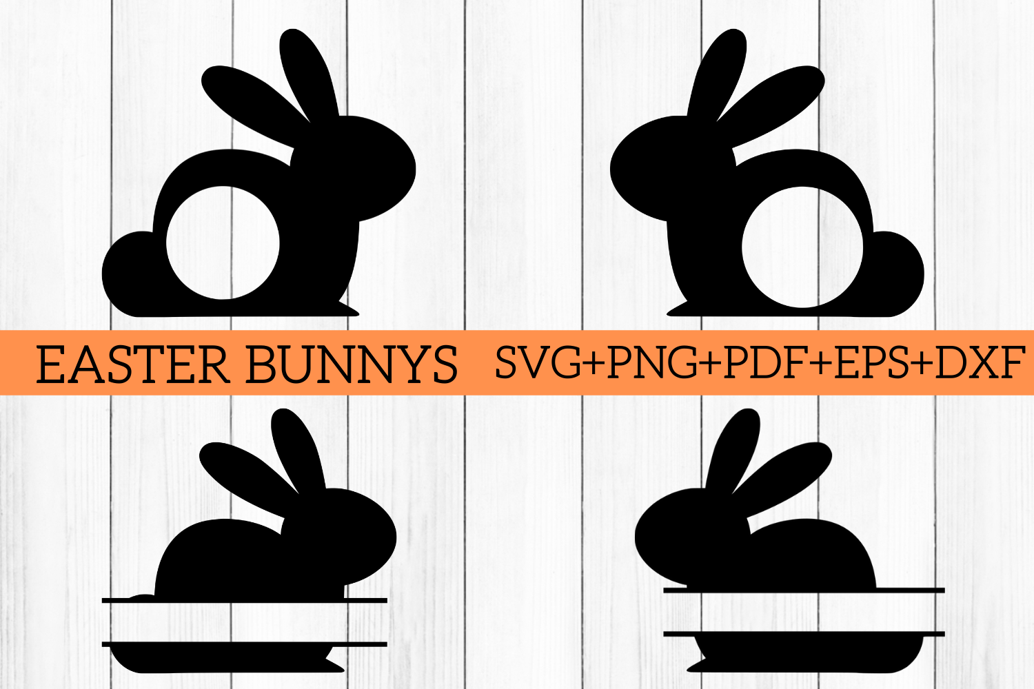 Easter Bunny Split Monogram Cut Files Svg Png Pdf Eps Dxf By Mockupvenue Thehungryjpeg Com