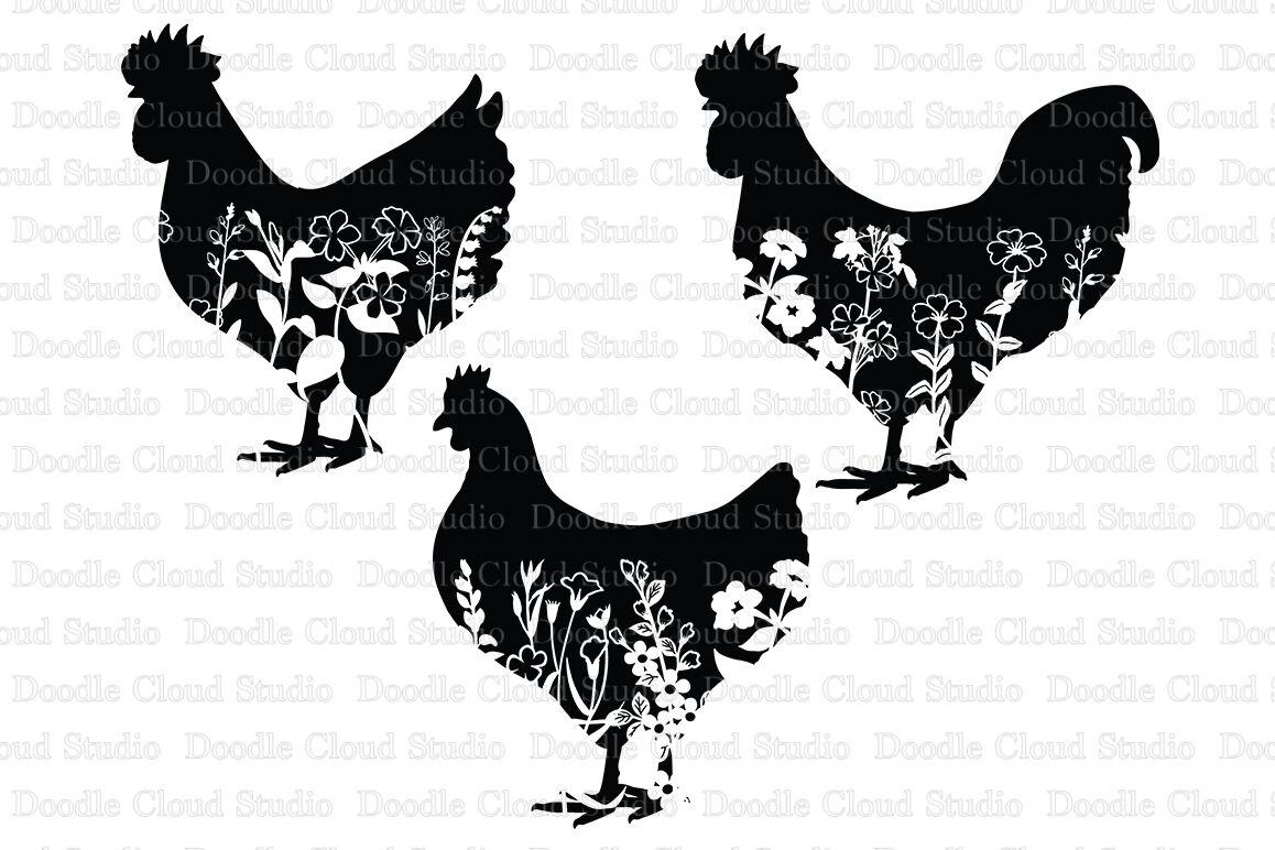 Floral Chicken Svg Floral Rooster Svg Floral Hen Svg By Doodle
