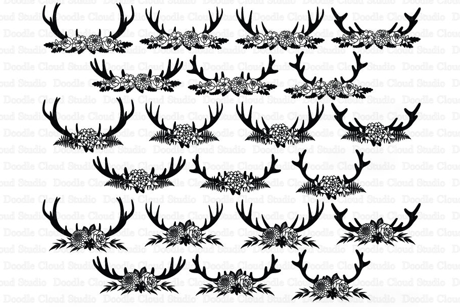 Floral Deer Antlers Svg Deer Antlers Flowers Svg Cut Files By