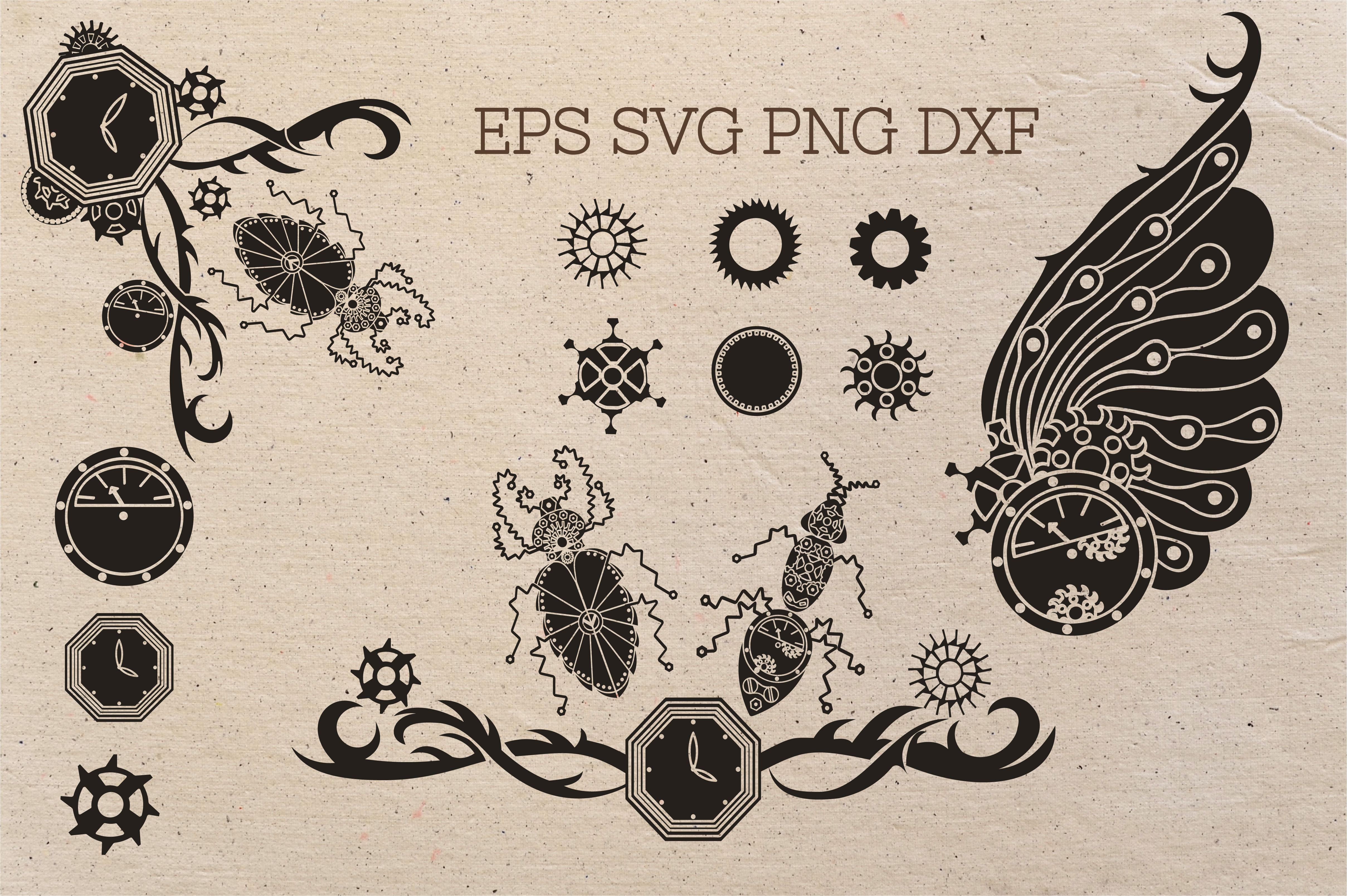 Doodle Steampunk Insect Set Svg By Zenart Studio By Tatyana