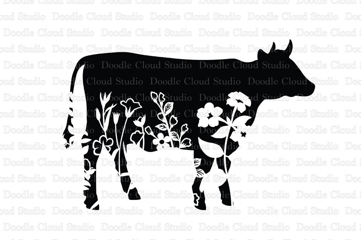 Floral Cow Svg Flower Cow Svg Cut File Floral Cow Clipart By