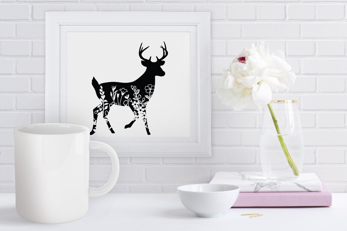 Floral Deer Svg Cut Files Flower Deer Clipart By Doodle Cloud