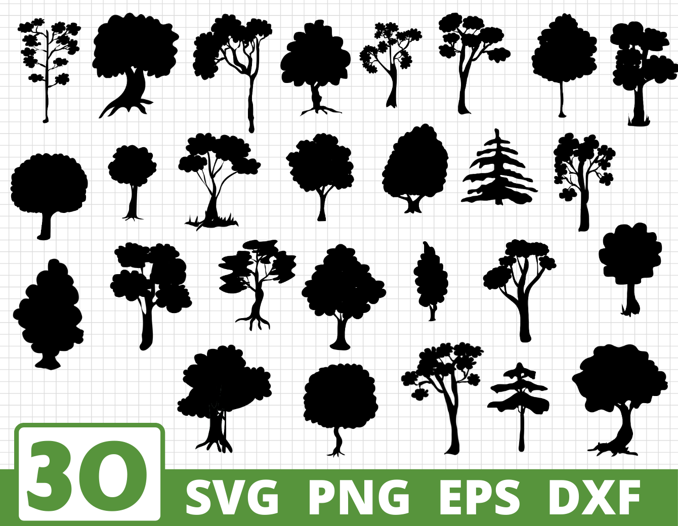 Trees Silhouette Svg Bundle Trees Vector Tree Cut File By
