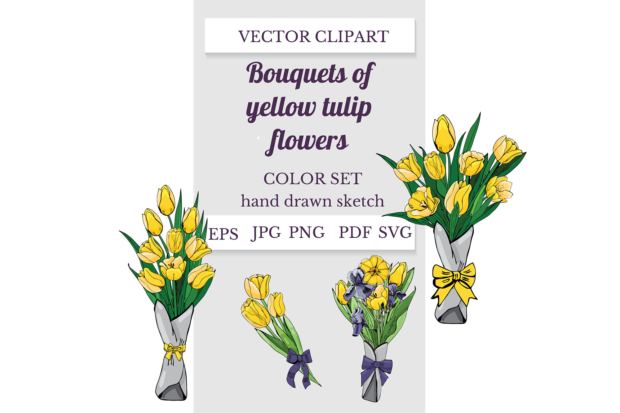Hand Drawn Sketch Of Yellow Tulip And Purple Iris Flowers Vector
