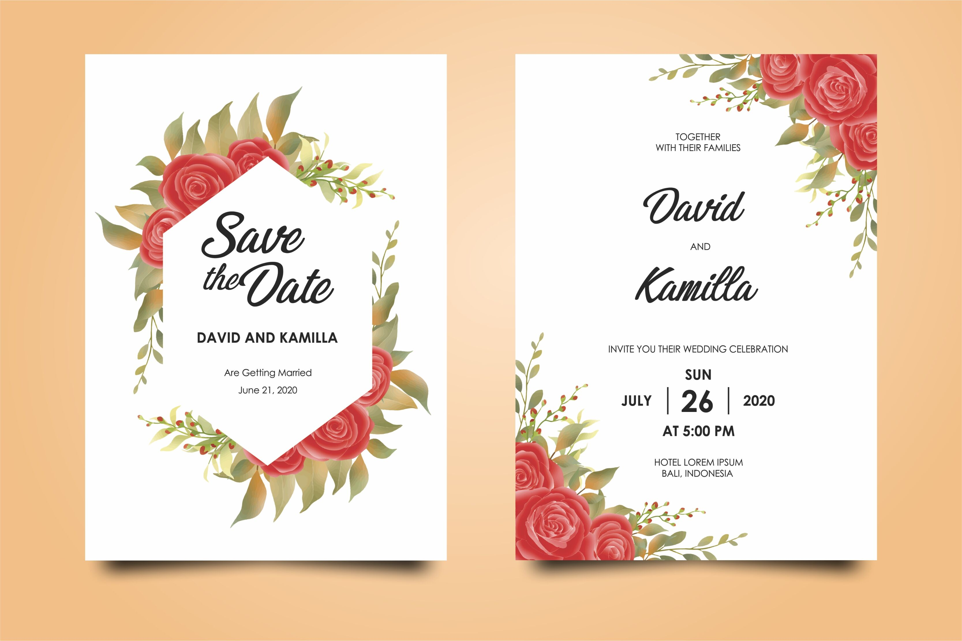 Beautiful Watercolor Wedding Invitation Card Templates By