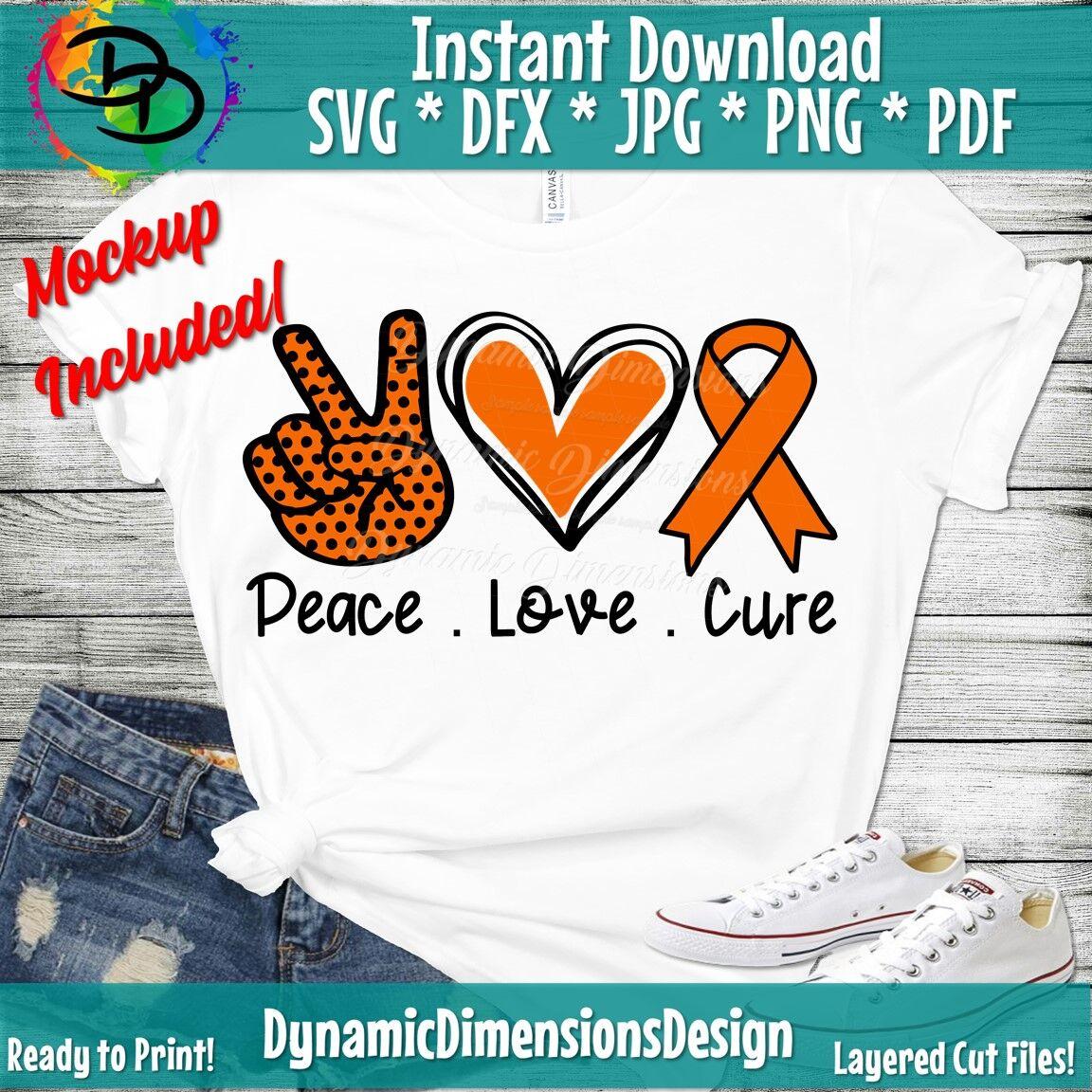 Peace Love Cure Svg Leukemia Svg Leukemia Cancer Ribbon Cancer