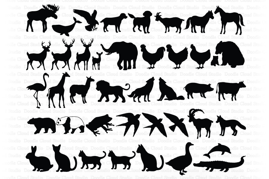Animal Bundle Svg Cut Files Animals Clipart By Doodle Cloud